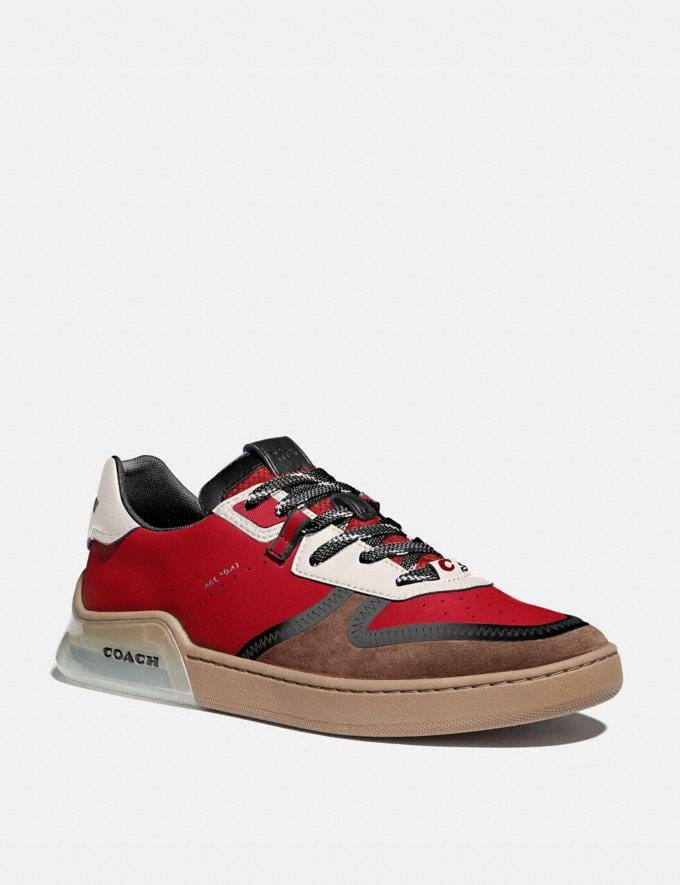Coach Citysole Court Sneaker in Colorblock Dark Cardinal Saddle Men Shoes Trainers