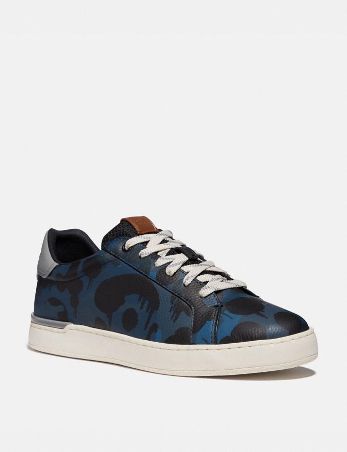 Coach Lowline Low Top Sneaker With Wild Beast Print Denim Wildbeast/Washed Steel Men Shoes Trainers