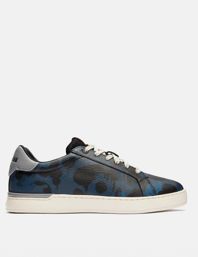 Coach Lowline Low Top Sneaker With Wild Beast Print Denim Wildbeast/Washed Steel Men Shoes Trainers Alternate View 1