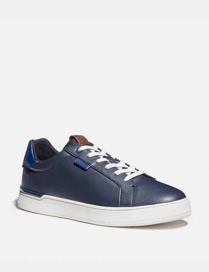 Coach Lowline Low Top Sneaker in Colorblock True Navy/Deep Sky Men Shoes CitySole