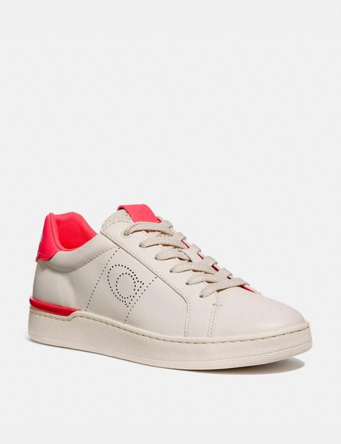 Coach Lowline Low Top Sneaker Chalk/Neon Pink New Women's New Arrivals