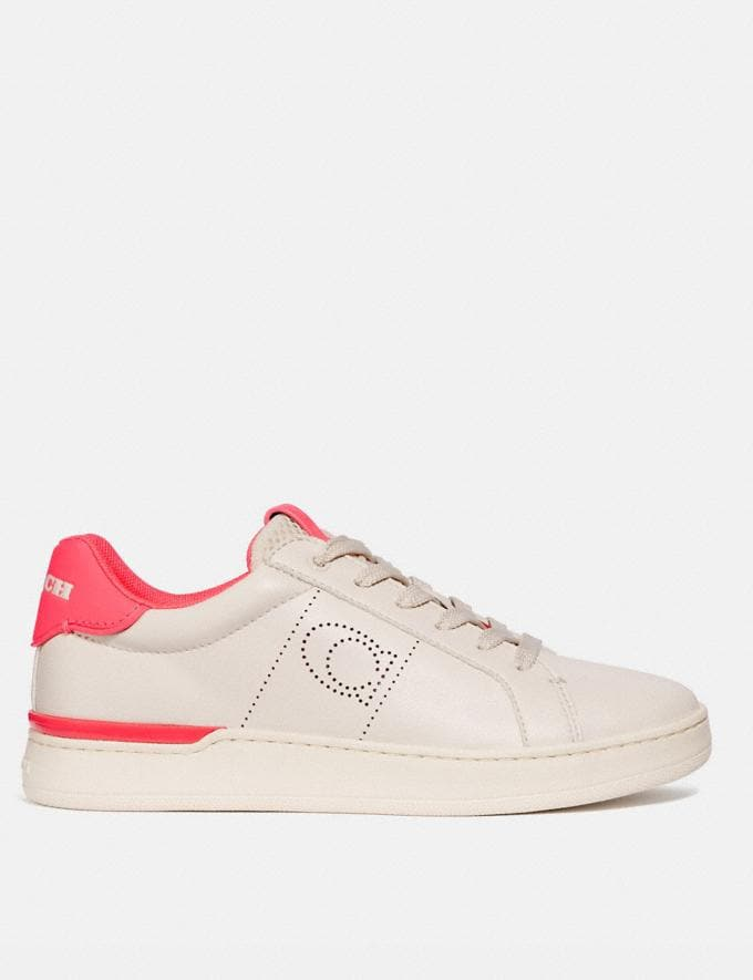 Coach Lowline Low Top Sneaker Chalk/Neon Pink Women Shoes Trainers Alternate View 1