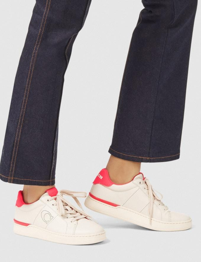 Coach Lowline Low Top Sneaker Chalk/Neon Pink New Women's New Arrivals Shoes Alternate View 4