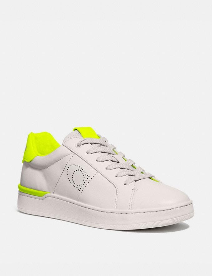 Coach Lowline Low Top Sneaker Chalk/Neon Yellow Women Shoes Sneakers