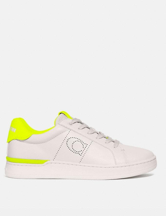 Coach Lowline Low Top Sneaker Chalk/Neon Yellow Women Shoes Sneakers Alternate View 1