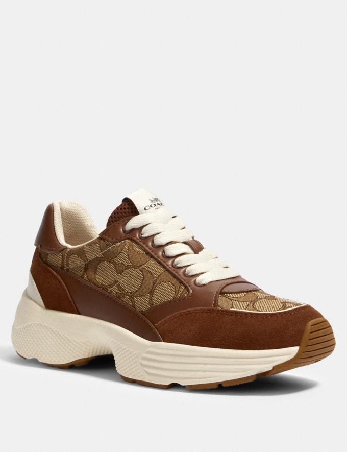 Coach C152 Tech Runner Khaki/Saddle SALE Women's Sale Shoes