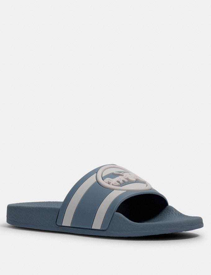 Coach Uli Sport Slide With Horse and Carriage Print Cornflower/Chalk