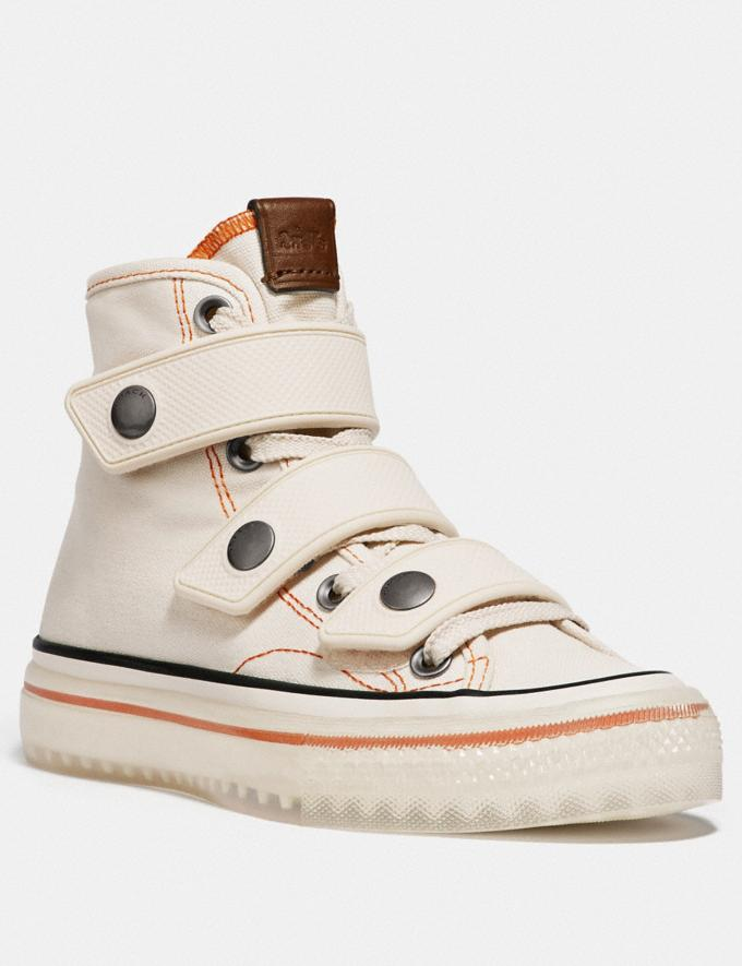 Coach High Top Button Up Sneaker Chalk Women Shoes