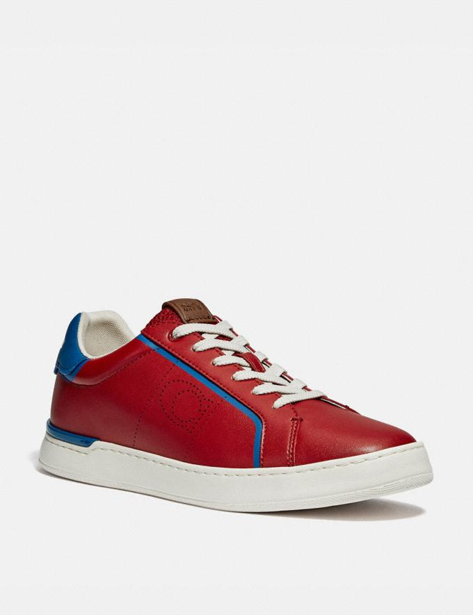 Coach Lowline Low Top Sneaker Dark Cardinal Bright Cobalt Gifts For Him Under $300