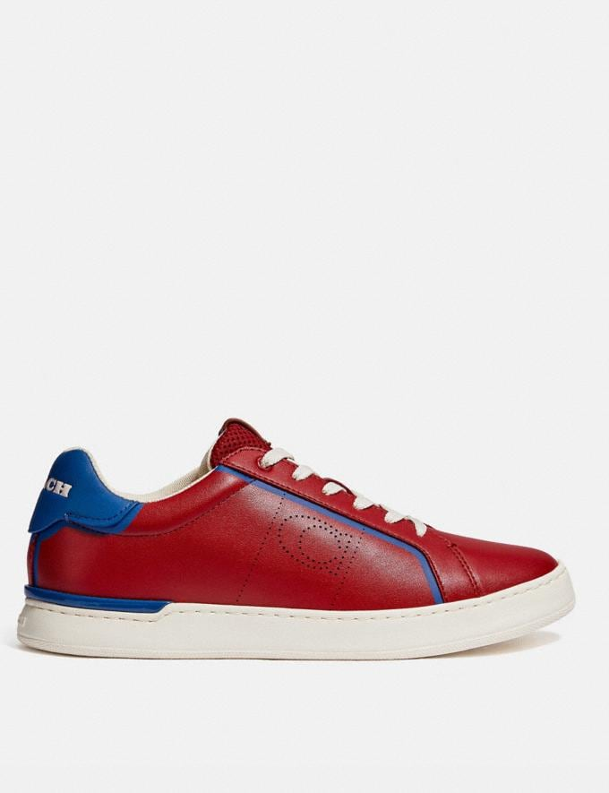 Coach Lowline Low Top Sneaker Dark Cardinal Bright Cobalt Men Shoes CitySole Alternate View 1