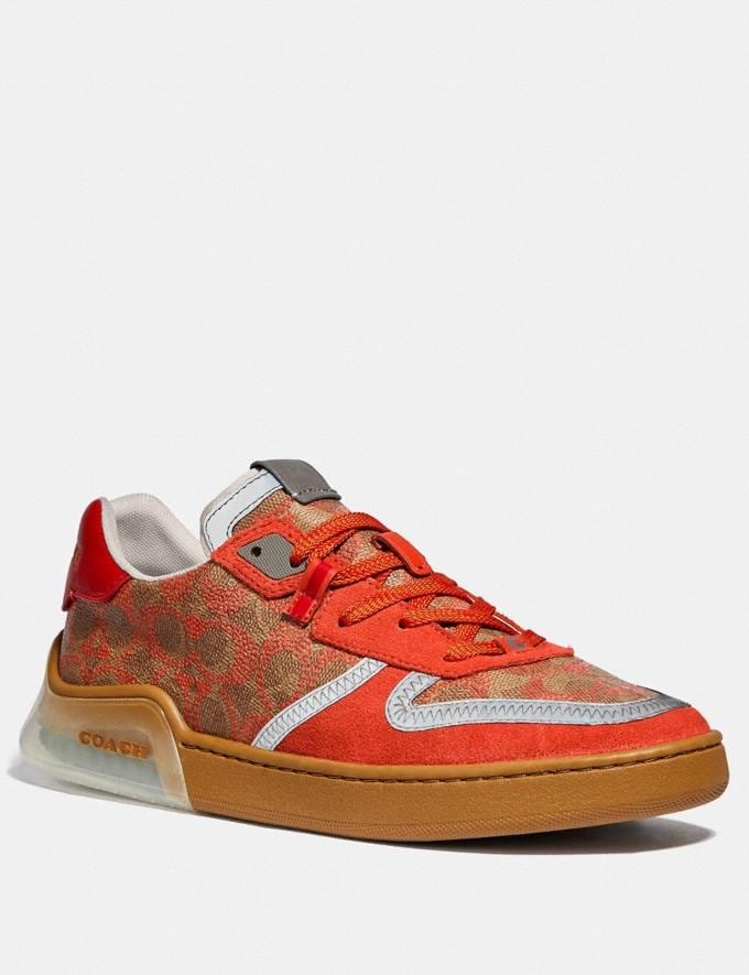 Coach Citysole Court Sneaker Khaki Harvest Orange New Featured CitySole For Him