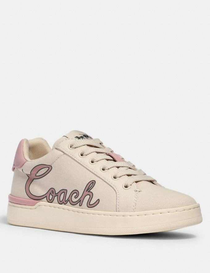 Coach Clip Low Top Sneaker With Coach Print Chalk/Blossom