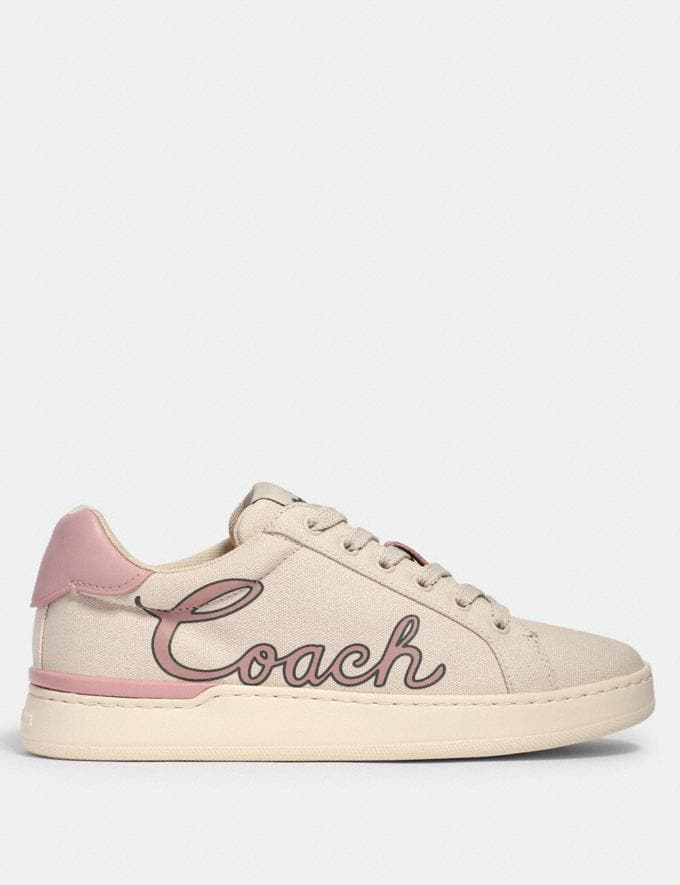 Coach Clip Low Top Sneaker With Coach Print Chalk/Blossom  Alternate View 1