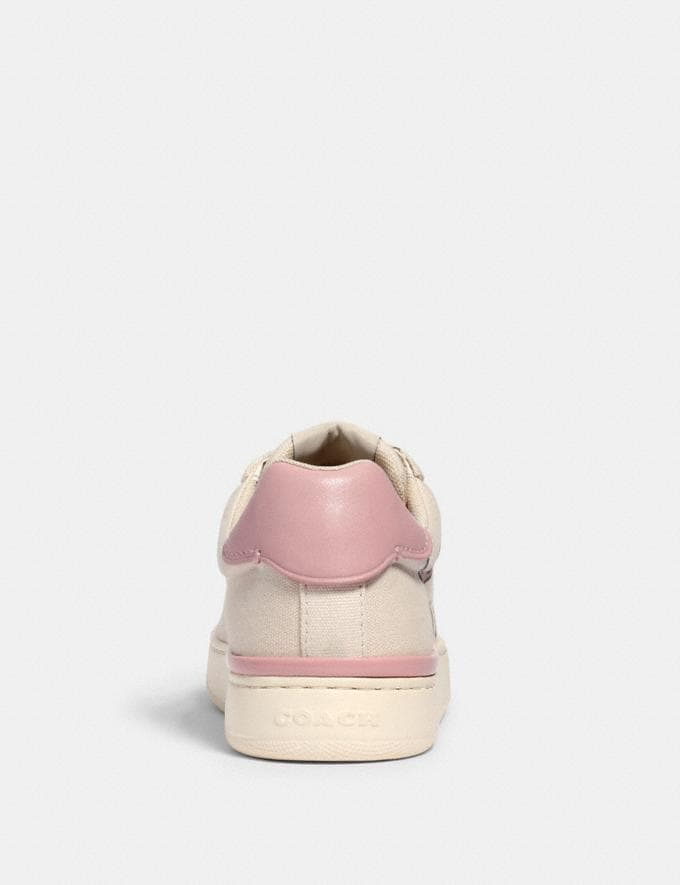 Coach Clip Low Top Sneaker With Coach Print Chalk/Blossom  Alternate View 3