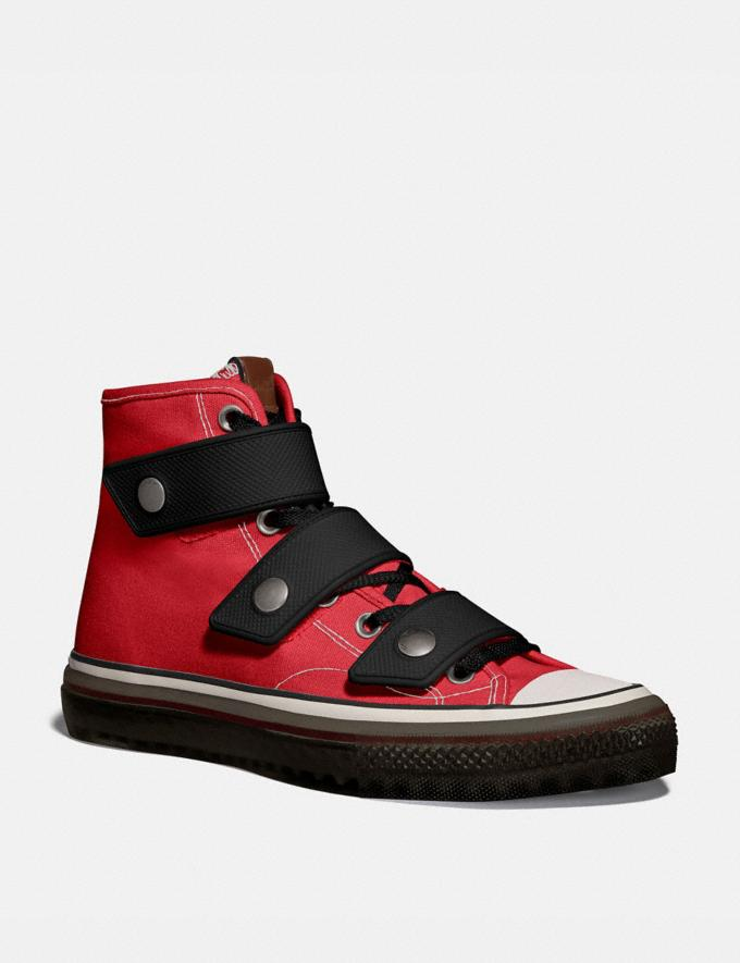 Coach High Top Button Up Sneaker Red