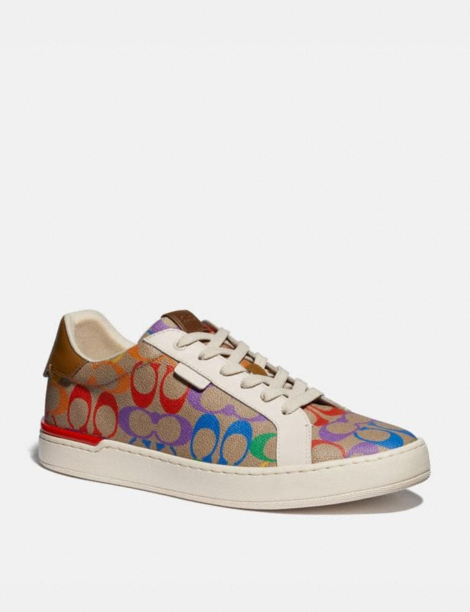 Coach Lowline Low Top Sneaker in Rainbow Signature Canvas Tan Multi Men Shoes Trainers