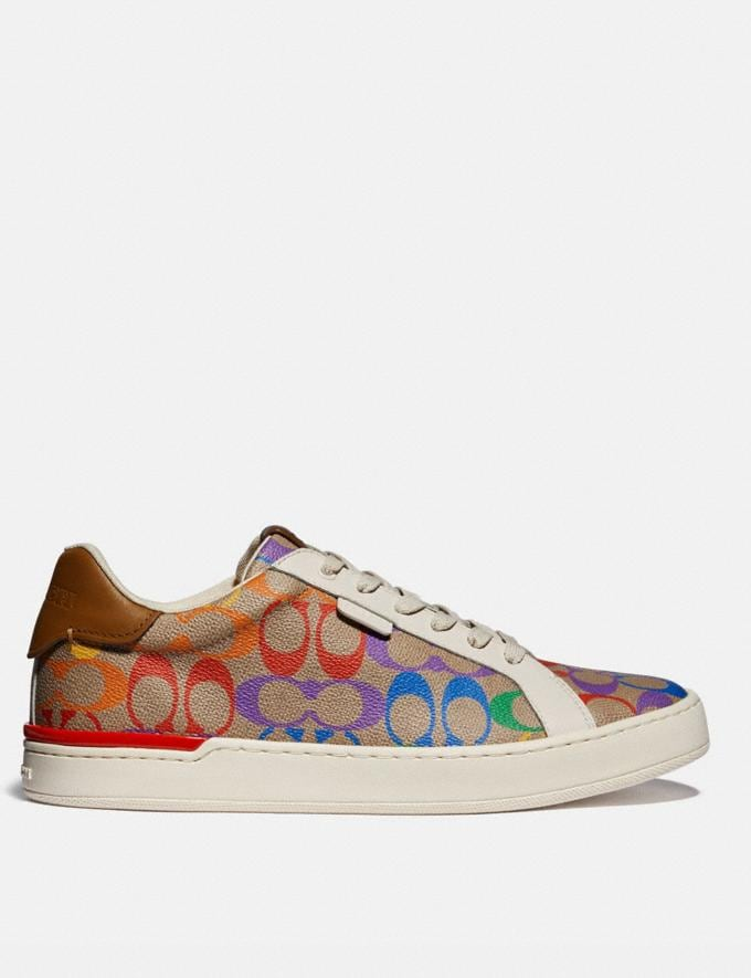 Coach Lowline Low Top Sneaker in Rainbow Signature Canvas Tan Multi Men Shoes Trainers Alternate View 1