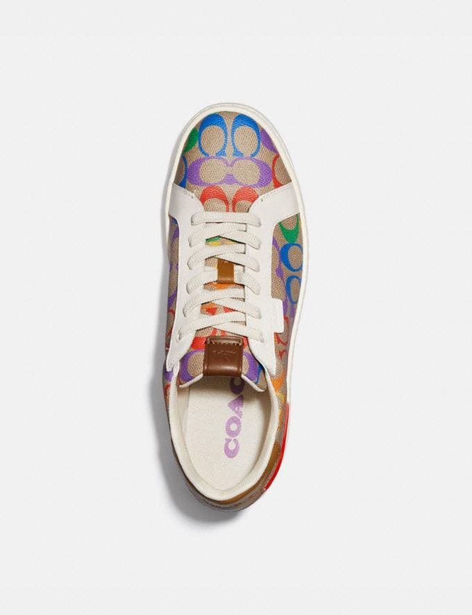 Coach Lowline Low Top Sneaker in Rainbow Signature Canvas Tan Multi Men Shoes Trainers Alternate View 2