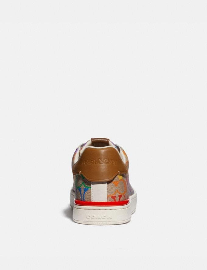 Coach Lowline Low Top Sneaker in Rainbow Signature Canvas Tan Multi Men Shoes Trainers Alternate View 3