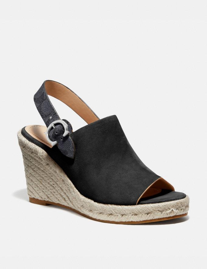 Coach Poppy Wedge Black Women Shoes Heels