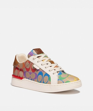 LOWLINE LOW TOP SNEAKER IN RAINBOW SIGNATURE CANVAS