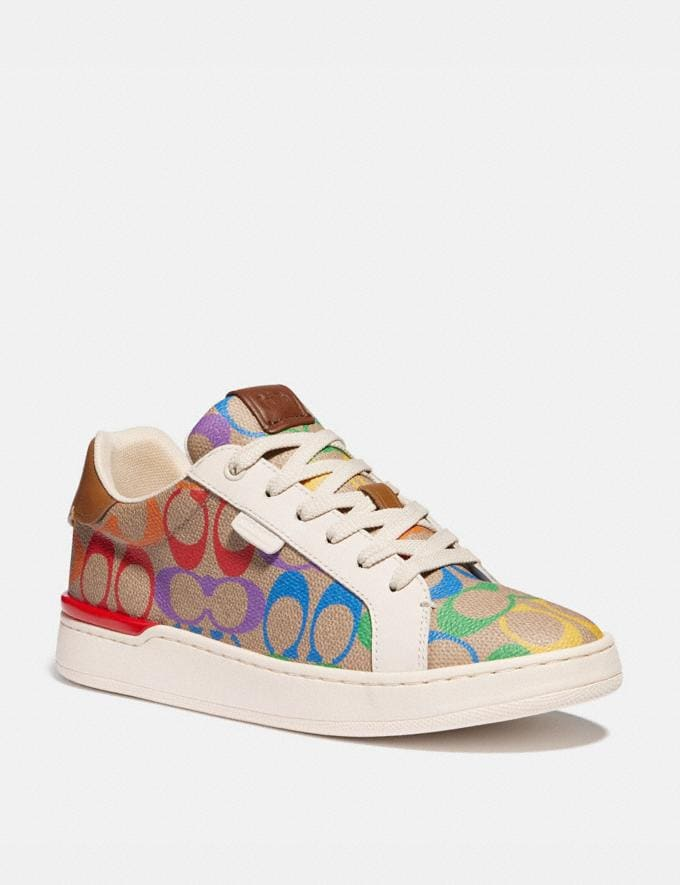 Coach Lowline Low Top Sneaker in Rainbow Signature Canvas Tan Multi Women Shoes Trainers