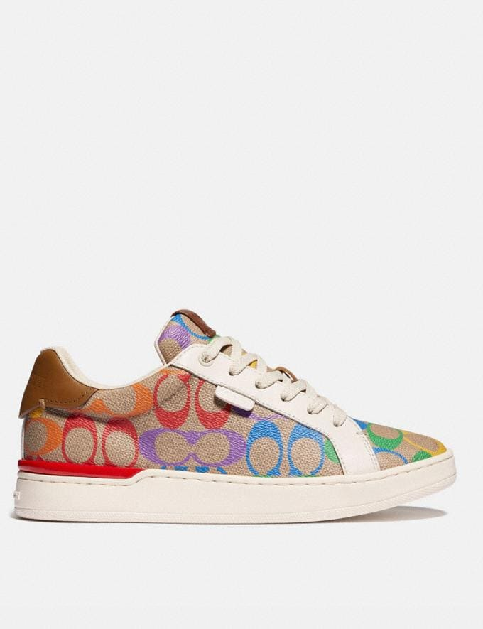 Coach Lowline Low Top Sneaker in Rainbow Signature Canvas Tan Multi Women Shoes Trainers Alternate View 1