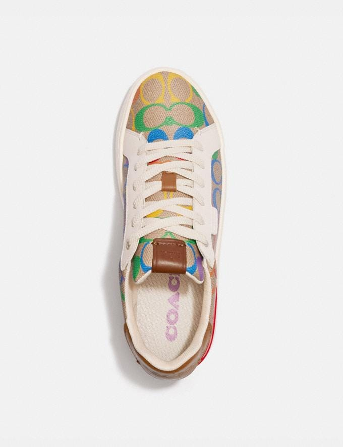 Coach Lowline Low Top Sneaker in Rainbow Signature Canvas Tan Multi Women Shoes Trainers Alternate View 2