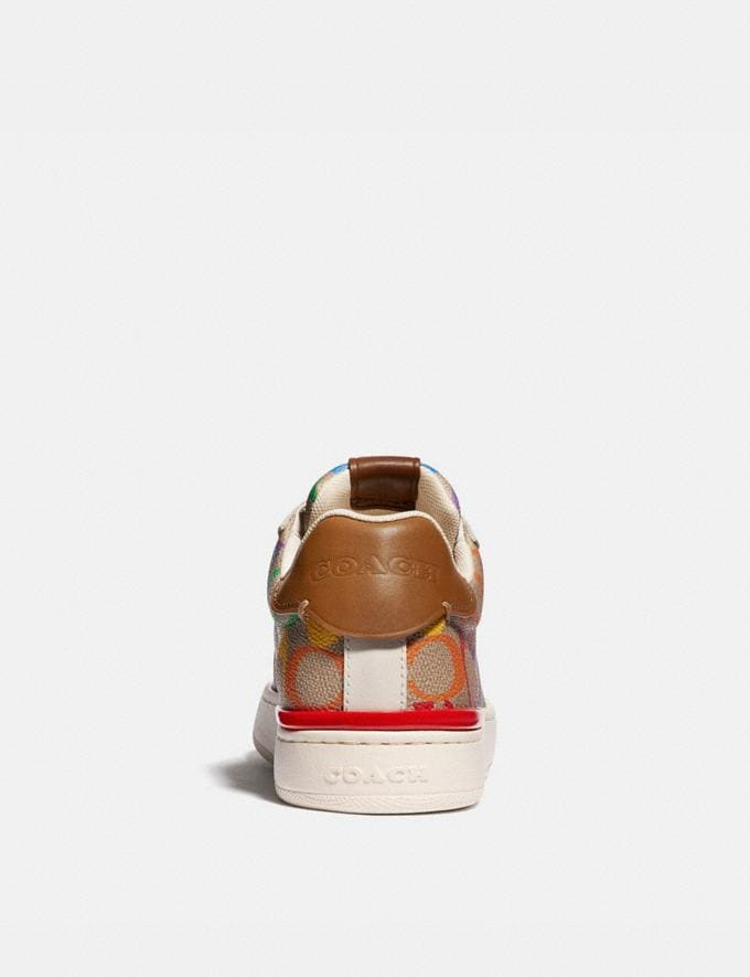 Coach Lowline Low Top Sneaker in Rainbow Signature Canvas Tan Multi Women Shoes Trainers Alternate View 3