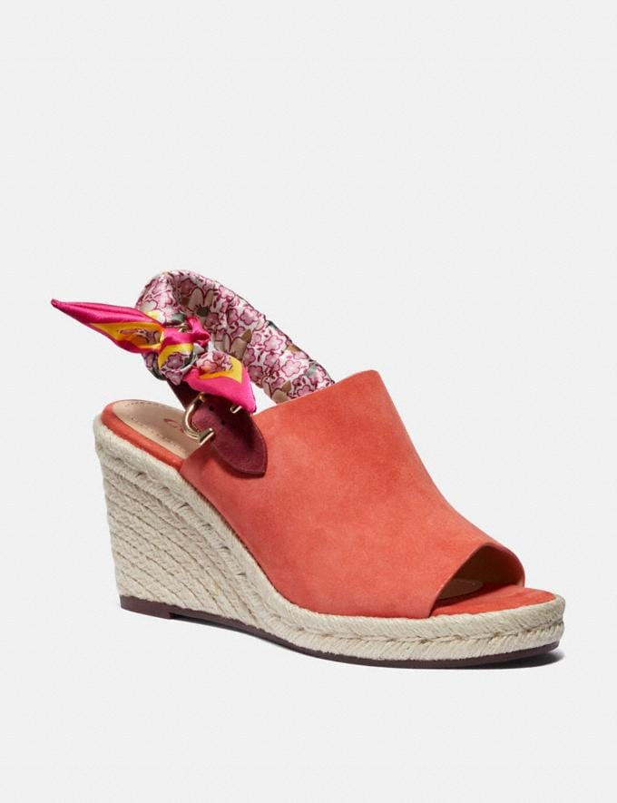 Coach Poppy Wedge Bright Salmon Women Shoes Heels
