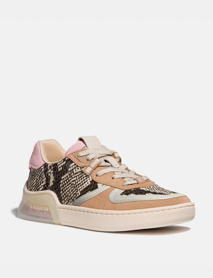 Coach Citysole Court Sneaker in Snakeskin Beechwood/Aurora Women Shoes Sneakers