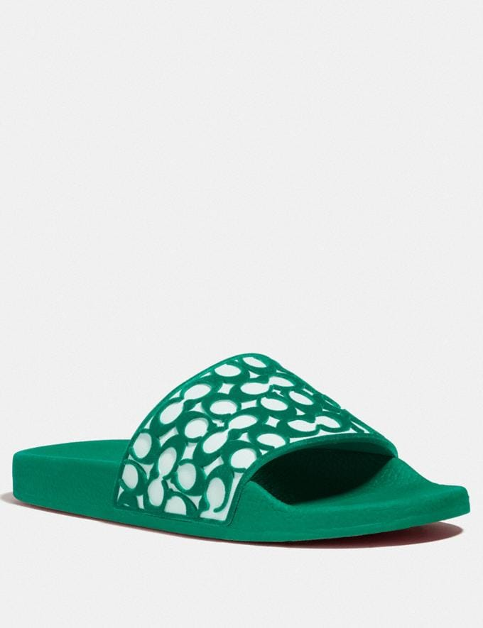 Coach Udele Sport Slide Green New Women's New Arrivals Shoes