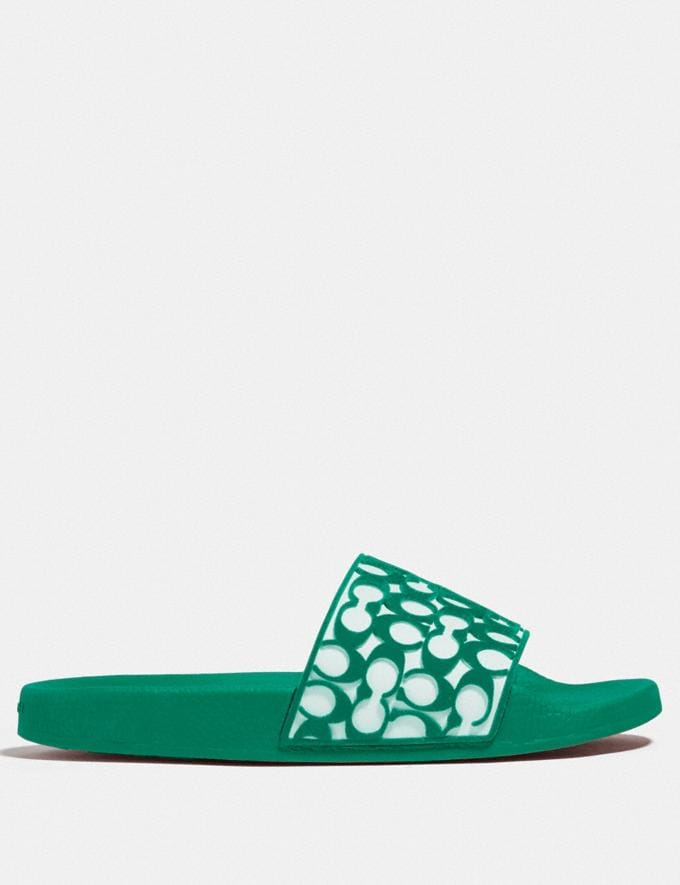 Coach Udele Sport Slide Green New Women's New Arrivals Shoes Alternate View 1