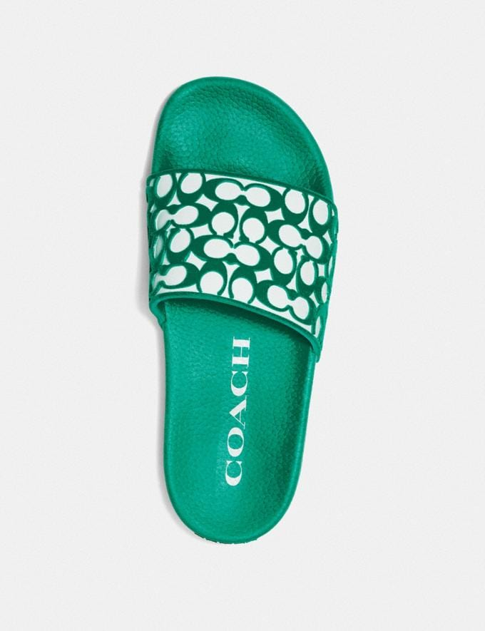 Coach Udele Sport Slide Green New Women's New Arrivals Shoes Alternate View 2