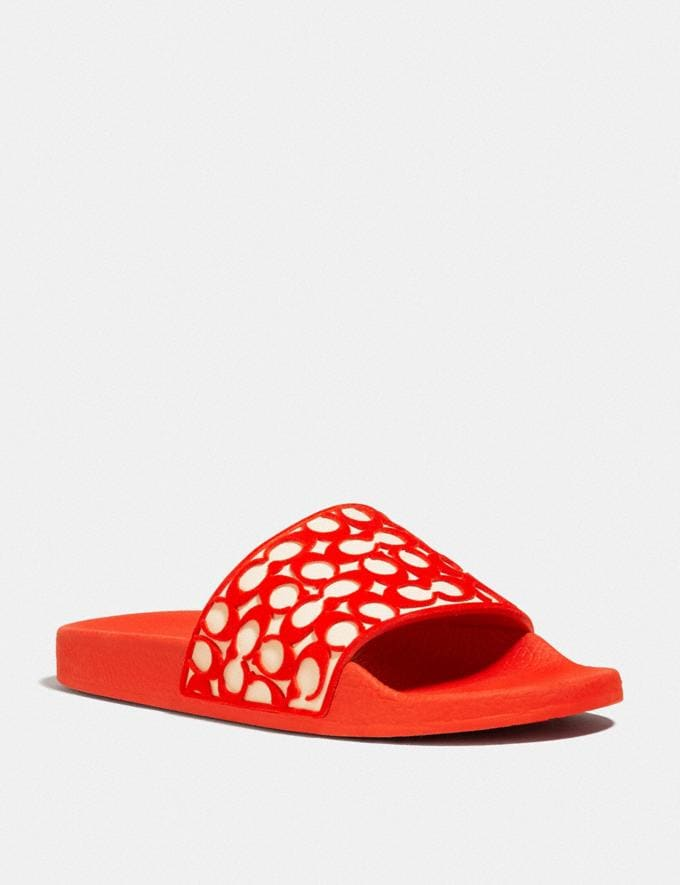 Coach Udele Sport Slide Fiery Red Women Shoes Flats