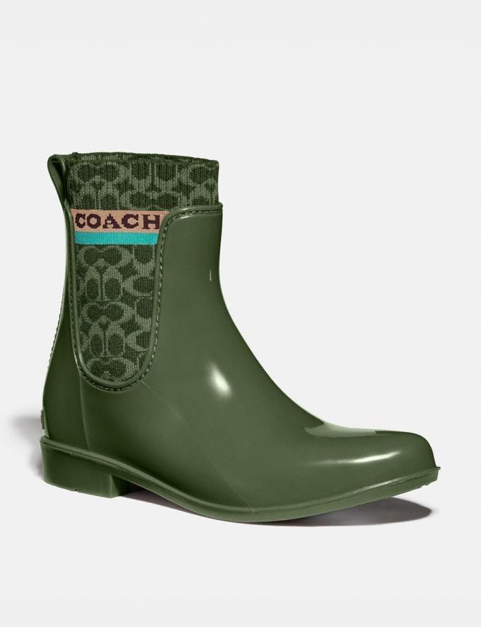 Coach Rivington Rain Bootie Bronze Green Women Shoes Boots & Booties