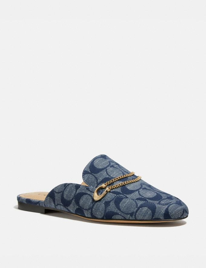Coach Sawyer Slide Loafer Chambray Women Shoes Flats