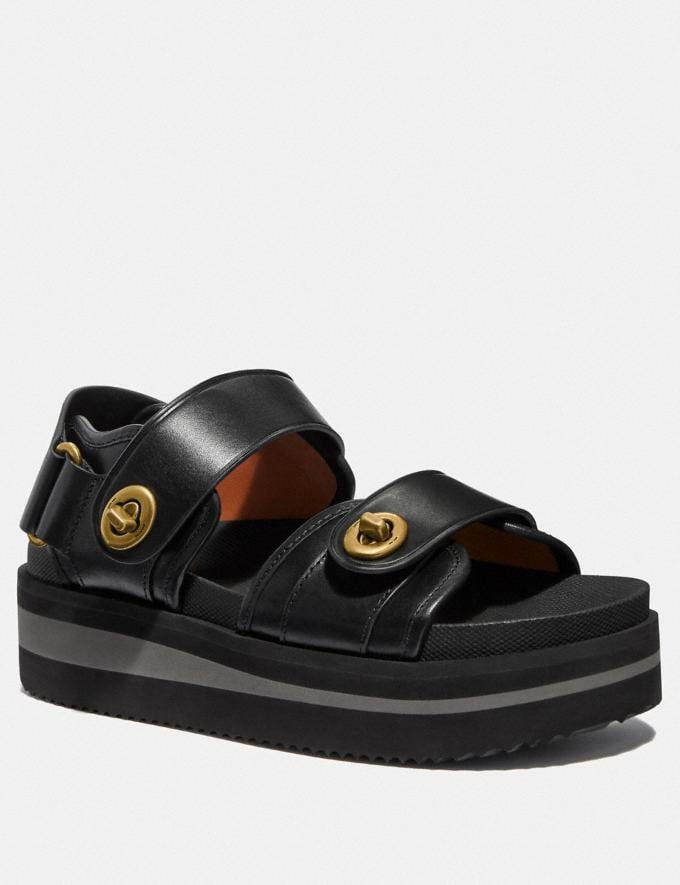 Coach Trail Sandal Black Women Shoes Sandals