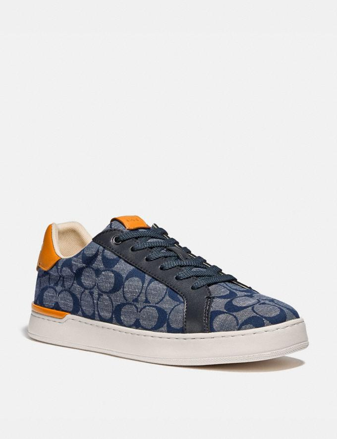 Coach Lowline Low Top Sneaker in Signature Chambray Chambray Men Shoes Sneakers