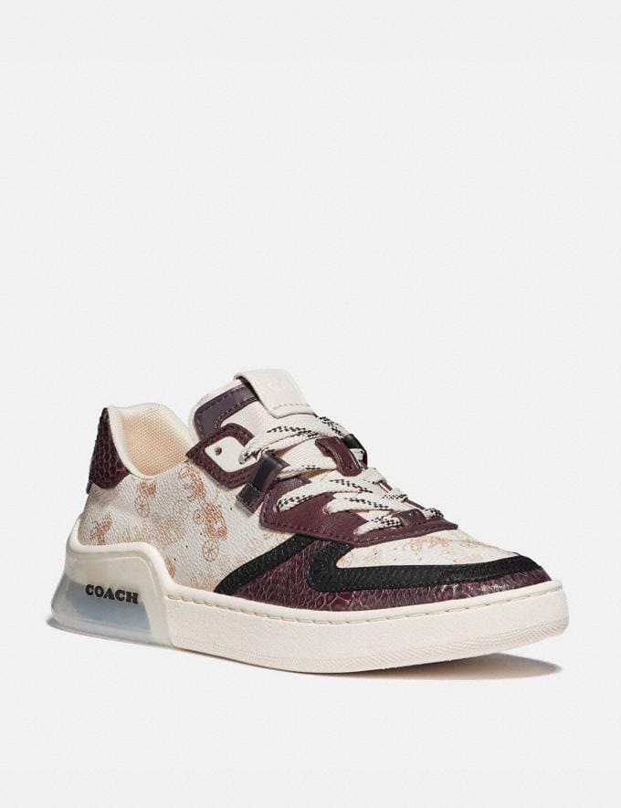 Coach Citysole Court Sneaker With Horse and Carriage Print and Snakeskin Detail Ivory/Wine Women Shoes Trainers