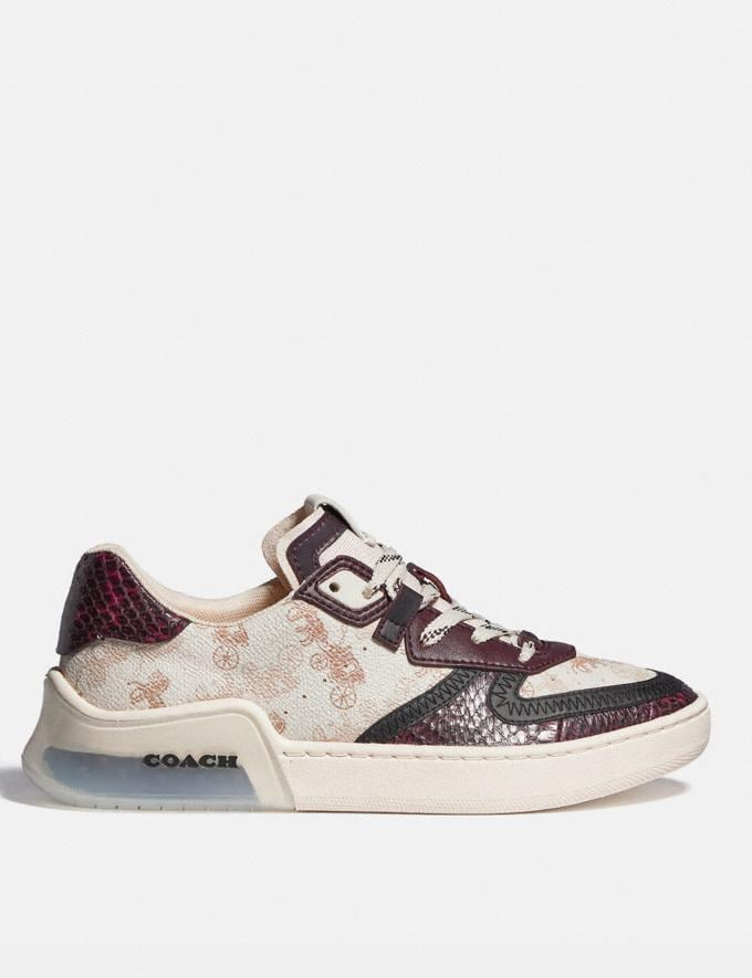 Coach Citysole Court Sneaker With Horse and Carriage Print and Snakeskin Detail Ivory/Wine Women Shoes Trainers Alternate View 1