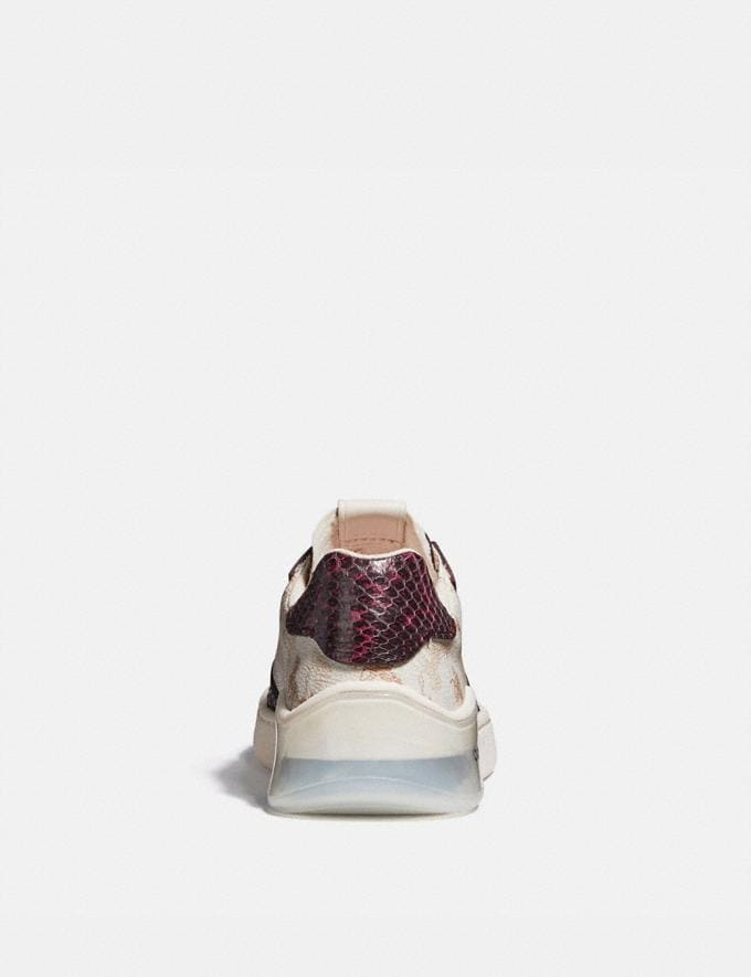 Coach Citysole Court Sneaker With Horse and Carriage Print and Snakeskin Detail Ivory/Wine Women Shoes Trainers Alternate View 3