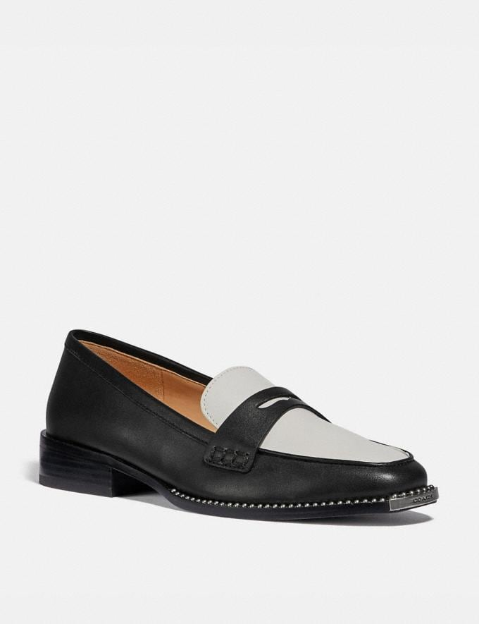 Coach Nelli Loafer Black/Optic White Women Shoes Flats