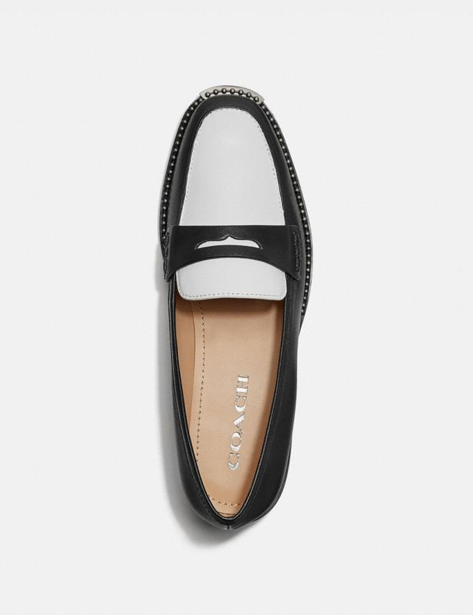 Coach Nelli Loafer Black/Optic White Women Shoes Flats Alternate View 2