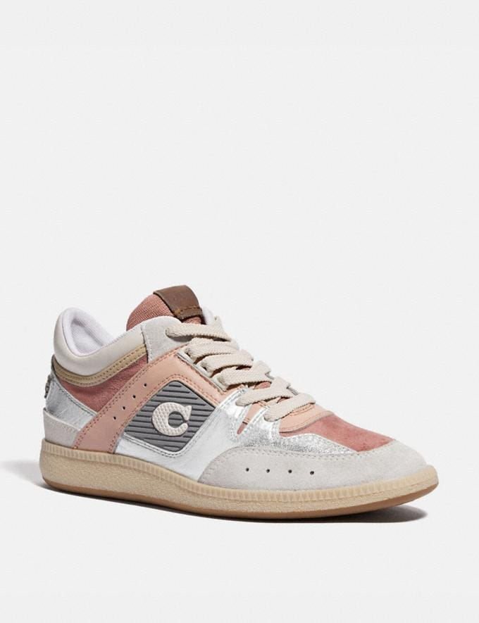 Coach Citysole Mid Top Sneaker Silver/Pale Blush Women Shoes Trainers