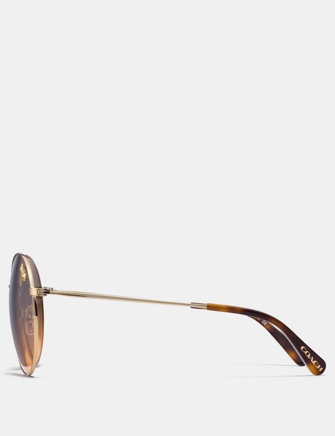 Coach Thin Metal Round Sunglasses Light Gold/Grey Orange Gradient Women Accessories Sunglasses Alternate View 1