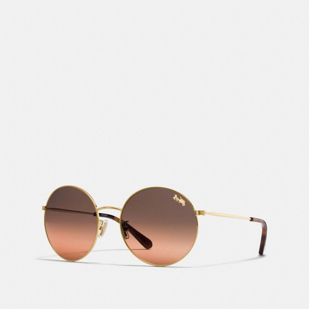 Coach Thin Metal Round Sunglasses