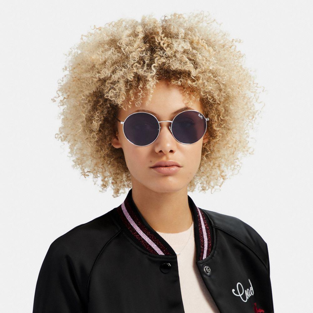 Coach Thin Metal Round Sunglasses Alternate View 1
