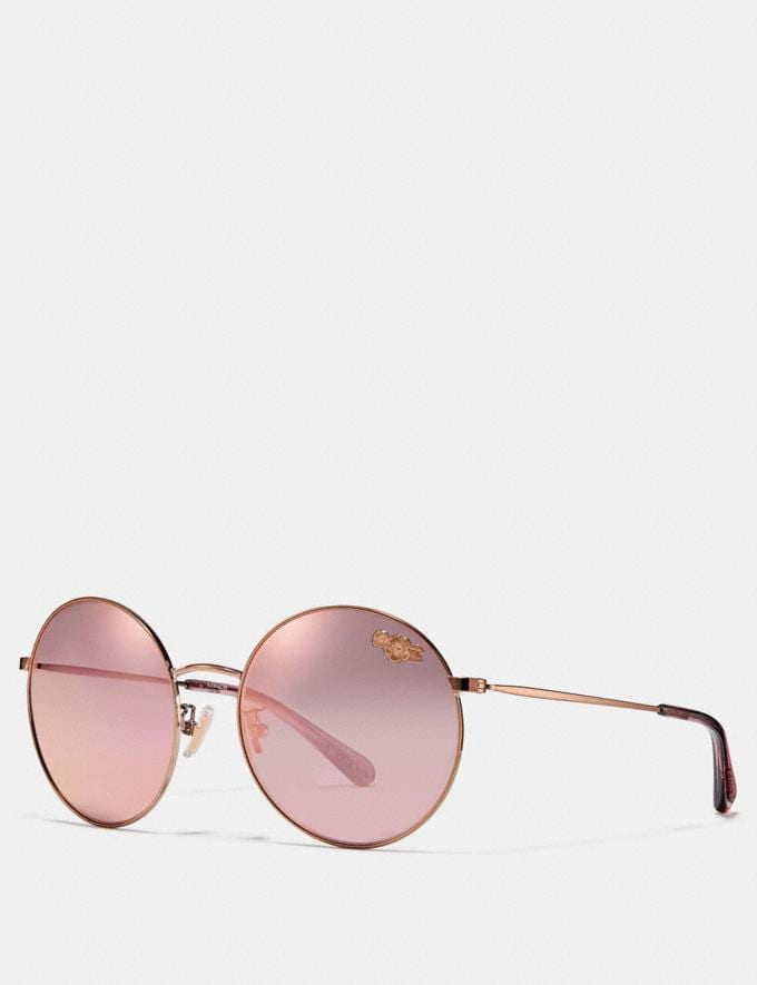 Coach Thin Metal Round Sunglasses Rose Gold Women Accessories Sunglasses