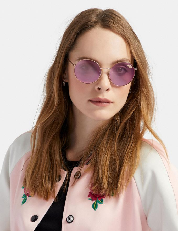 Coach Thin Metal Round Sunglasses Rose Gold SALE Featured Women's Alternate View 1